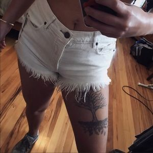 free people shorts distressed 24 mini white